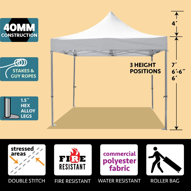 10 x 10 Outdoor White Canopy Frame Tent Pop Up Instant Shelter Shade ...
