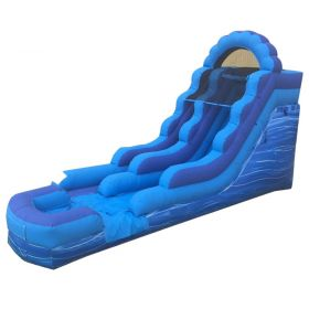 USED 15' Blue Marble Inflatable Water Slide with Blower