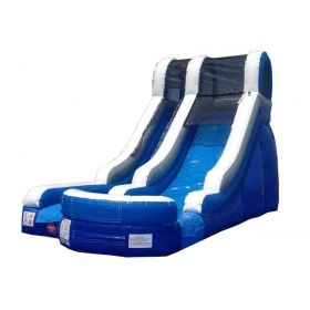 15' Blue and White Wet / Dry Inflatable Slide with Blower