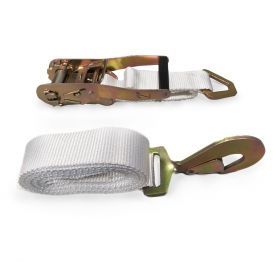 """2"""" x 13' Ratchet Strap - White Tent Tie Down with S-Hook (10-Pack)"""