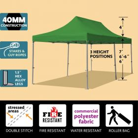 10' x 20' 40mm Speedy Pop-up Party Tent - Green