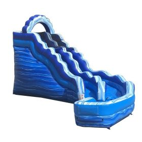 17' Tall Blue Marble Wet / Dry Inflatable Curve Slide with Blower