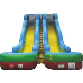 24' Retro Rainbow Double Lane Wet / Dry Water Slide with Blower