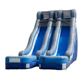 24' Blue Double Lane Wet / Dry Water Slide with Blower
