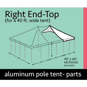 40' x 20' Grommet End Extender Pole Tent Top Only
