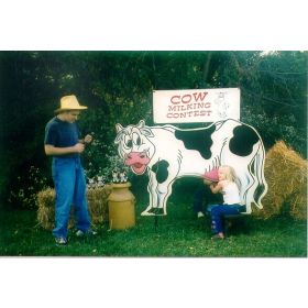 Cow Milking Contest Interactive Carnival Game, Double Sided