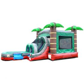 Kids Tropical Red Marble Water Slide Bounce House Combo with Blower
