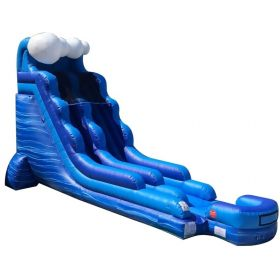 18' Tall Blue Marble Wave Wet / Dry Inflatable Slide with Blower