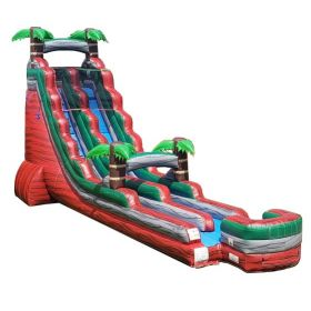 22' Tall Red Marble Tropical Wet / Dry Inflatable Slide with Blower