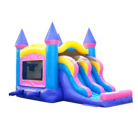 Kids Pink Bounce House and Double Lane Slide Combo with Blower