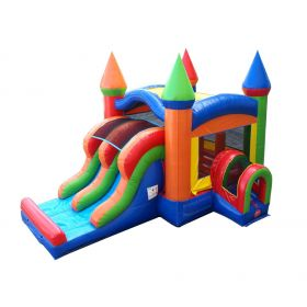 USED Kids Modern Rainbow Bounce House and Double Lane Slide Combo with Blower