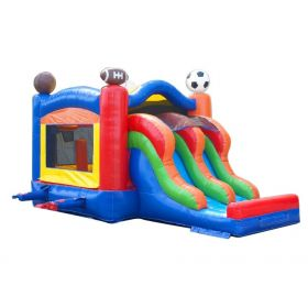 Kids Sports Double Lane Slide Combo with Blower