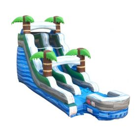 15' Tall Tropical Marble Wet / Dry Inflatable Slide with Blower