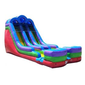 18' Retro Rainbow Double Bay Wet / Dry Inflatable Slide with Blower