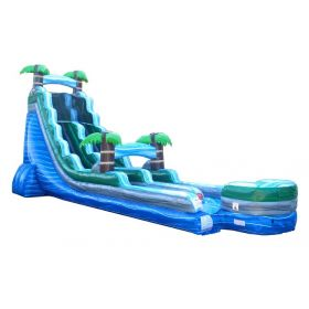 22' Tall Blue Marble Tropical Wet / Dry Inflatable Slide with Blower