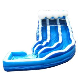 19' Blue Wave Marble Double Lane Curved Inflatable Water Slide with Blower