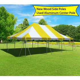 20' x 30' Canopy Pole Party Tent - Yellow and White, Wood/Aluminum Poles