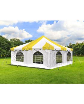 20' x 20' Weekender Standard Pole Tent with Sidewalls - Yellow