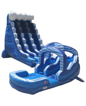 Blue Marble Inflatable Water Slide and Curved Slip n' Slide Combo with Blowers