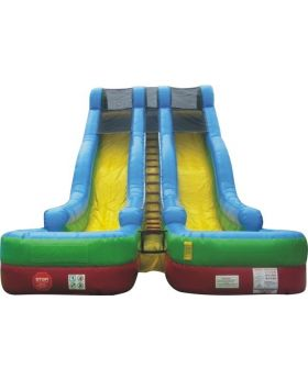 24' Retro Rainbow Double Lane Inflatable Water Slide with Blower