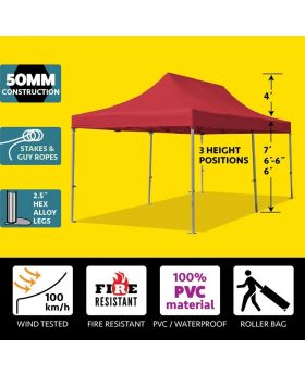 10' x 20' 50mm Speedy Pop-up Party Tent - Red
