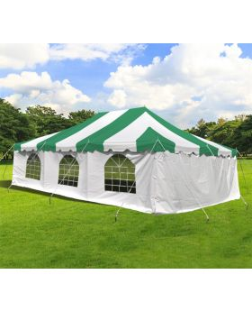 20' x 30' Weekender Standard Pole Tent with Sidewalls - Green