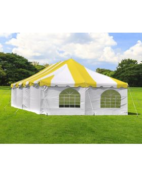 20' x 40' Weekender Standard Pole Tent with Sidewalls - Yellow