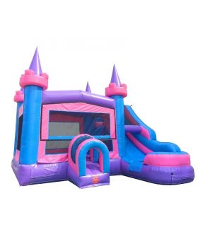 Modular Pink Castle Inflatable Water Slide Bounce House Combo with Blower