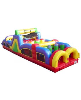 40' Retro Inflatable Obstacle Course with Blower