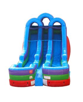 15' Retro Rainbow Double Bay Inflatable Water Slide with Blower