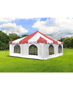 20' x 20' Weekender Standard Pole Tent with Sidewalls - Red