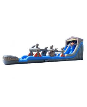 22' Log Mountain Dual Lane Inflatable Water Slide and Slip n Slide Combo with Blower