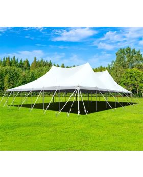 60' x 60' Premium Sectional Canopy Pole Party Tent - White