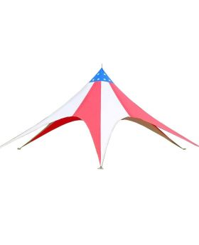 55' Star Teepee Tent - Red, White & Blue Single Pole