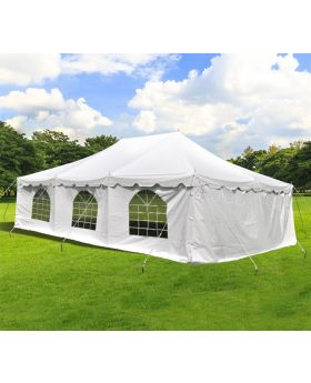 20' x 30' Weekender Standard Pole Tent with Sidewalls - White