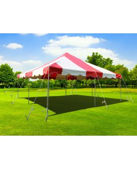 20' x 20' Weekender Standard Canopy Pole Tent - Red & White