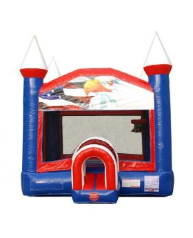 Patriotic Red, White & Blue Bounce House with Blower