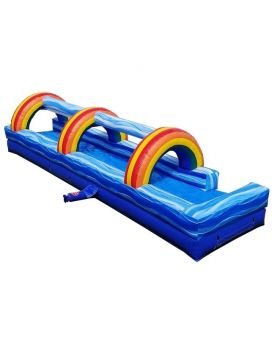 30' Blue Marble Inflatable Slip n Slide with Blower