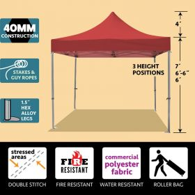 10' x 10' 40mm Speedy Pop-up Party Tent - Red