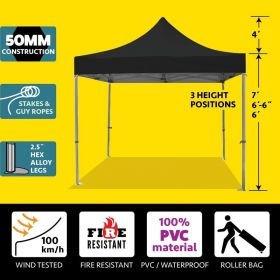 10' x 10' 50mm Speedy Pop-up Party Tent - Black