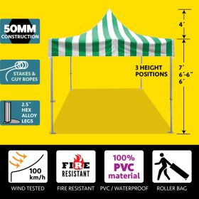 10' x 10' 50mm Speedy Pop-up Party Tent - Green and White