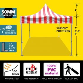 10' x 10' 50mm Speedy Pop-up Party Tent - Red/White