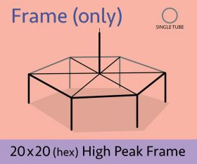 20' x 20' Hexagon High Peak Canopy Tent Frame Only
