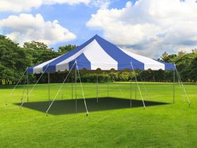 20' x 20' Weekender Standard Canopy Pole Tent - Blue & White
