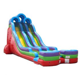 24' Retro Rainbow Double Bay Inflatable Water Slide with Blower