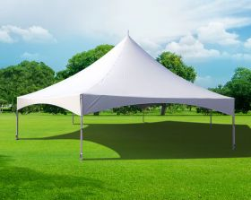 40' Hexagon High Peak Frame Party Tent, White