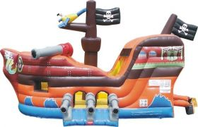 OPEN BOX Deluxe Pirate Ship Bounce House and Slide Combo with Blower
