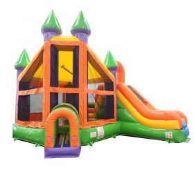 Rainbow Deluxe Bouncy Castle Bounce House Slide Combo w/ Blower