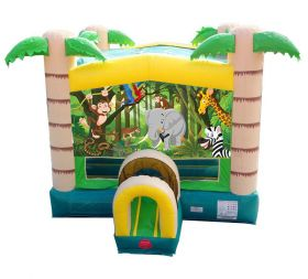 Modular Tropical Inflatable Bounce House with Blower and Jungle Art Panel