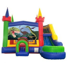 Modular Modern Rainbow Inflatable Water Slide Bounce House Combo with Blower and Dinosaur Art Panel